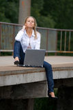Beautiful young lady with notebook Royalty Free Stock Images