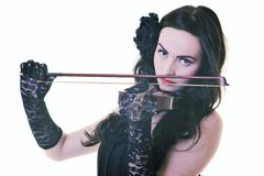 Beautiful young lady play violin Stock Photography