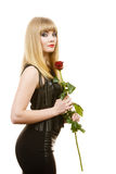 Beautiful young lady with red rose. Stock Photos