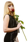 Beautiful young lady with red rose. Stock Image