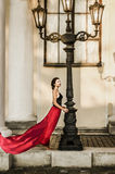 Beautiful young lady in red Royalty Free Stock Photos
