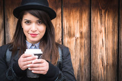 Beautiful young lady swith coffee Royalty Free Stock Photography