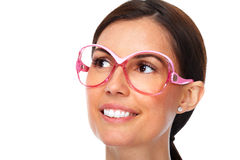 Beautiful young lady wearing eyeglasses. Royalty Free Stock Images