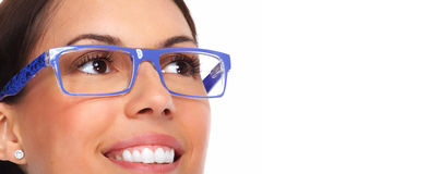 Beautiful young lady wearing eyeglasses. Royalty Free Stock Photography