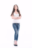 Beautiful young lady wearing jeans Royalty Free Stock Photography