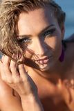 Beautiful young lady with wet hair outdoor Royalty Free Stock Photo