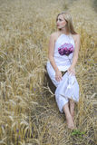 Beautiful young lady in white dress, wheat field background Royalty Free Stock Photo