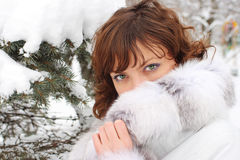 Beautiful young lady in the winter park Royalty Free Stock Photography