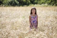 Beautiful young little girl running summer field Stock Image