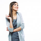 Beautiful young long haired business woman white background iso Royalty Free Stock Photos