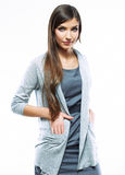 Beautiful young long haired business woman white background iso Stock Photography