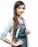 Beautiful young long haired business woman white b Stock Photography
