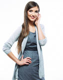 Beautiful young long haired business woman white b Stock Images
