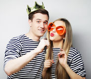 Beautiful young loving couple ready for party. Stock Photo