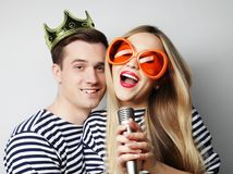 Beautiful young loving couple ready for party. Royalty Free Stock Image
