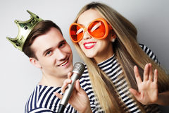 Beautiful young loving couple ready for party. Royalty Free Stock Photo
