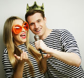 Beautiful young loving couple ready for party. Stock Images