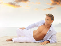 Beautiful young man Stock Images