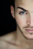 Beautiful Young Man Half Face Stock Photo