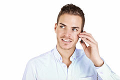 Beautiful young man with handy Royalty Free Stock Photos