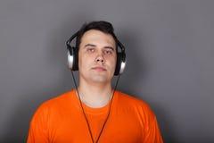 Beautiful young man in headphones Stock Photo