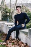 Beautiful young man model autumn / winter Royalty Free Stock Image