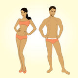 Beautiful young man and woman in lingerie on the white backgroun Stock Photo