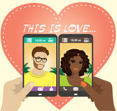 Beautiful young man and woman in love on the screen of your smar Stock Photo