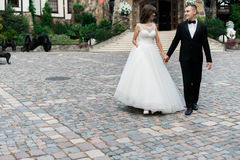 Beautiful young married couple walking and holding hands Stock Photos