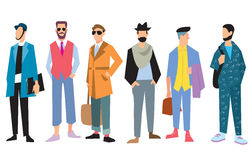 Beautiful young mens in fashion clothing, vector Stock Photos