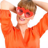Beautiful young model with big glasses-close up. Royalty Free Stock Image