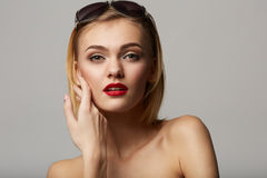 Beautiful young model with big glasses-close up! Royalty Free Stock Image