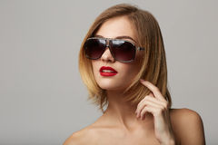 Beautiful young model with big glasses-close up! Stock Photography