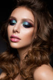 Beautiful young model with bright makeup and sunburn skin Evening make up Royalty Free Stock Photos