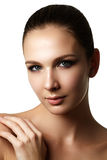 Beautiful young model with dark fashion make-up and french manic Stock Image