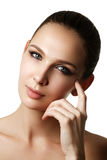 Beautiful young model with dark fashion make-up and french manic Stock Photography