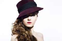 Beautiful young model in hat Royalty Free Stock Photos