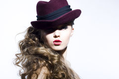 Beautiful young model in hat Royalty Free Stock Photography