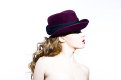 Beautiful young model in hat Stock Photos