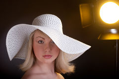 Beautiful young model in hat Stock Photo