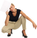 Beautiful young model holding blank sign Stock Photos