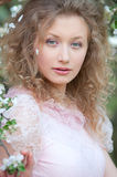 Beautiful young model in pink dress Royalty Free Stock Photo