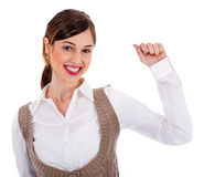 Beautiful young model raising her hand up Royalty Free Stock Photo