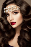 Beautiful young model with red lips Royalty Free Stock Photography