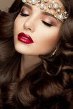 Beautiful young model with red lips royalty free stock photos