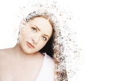 Beautiful young model with red lips. Disintegration Effect.  Stock Photo