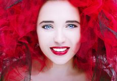 Beautiful young model with red lips. Gorgeous Woman Face. Beautiful young model with red lips. Gorgeous Woman Face stock photography