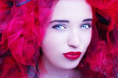 Beautiful young model with red lips. Gorgeous Woman Face. Beautiful young model with red lips. Gorgeous Woman Face royalty free stock photography