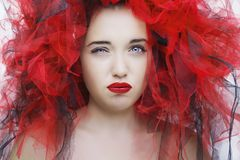Beautiful young model with red lips. Gorgeous Woman Face. Beautiful young model with red lips. Gorgeous Woman Face royalty free stock photo