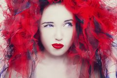 Beautiful young model with red lips. Gorgeous Woman Face. Beautiful young model with red lips. Gorgeous Woman Face royalty free stock image